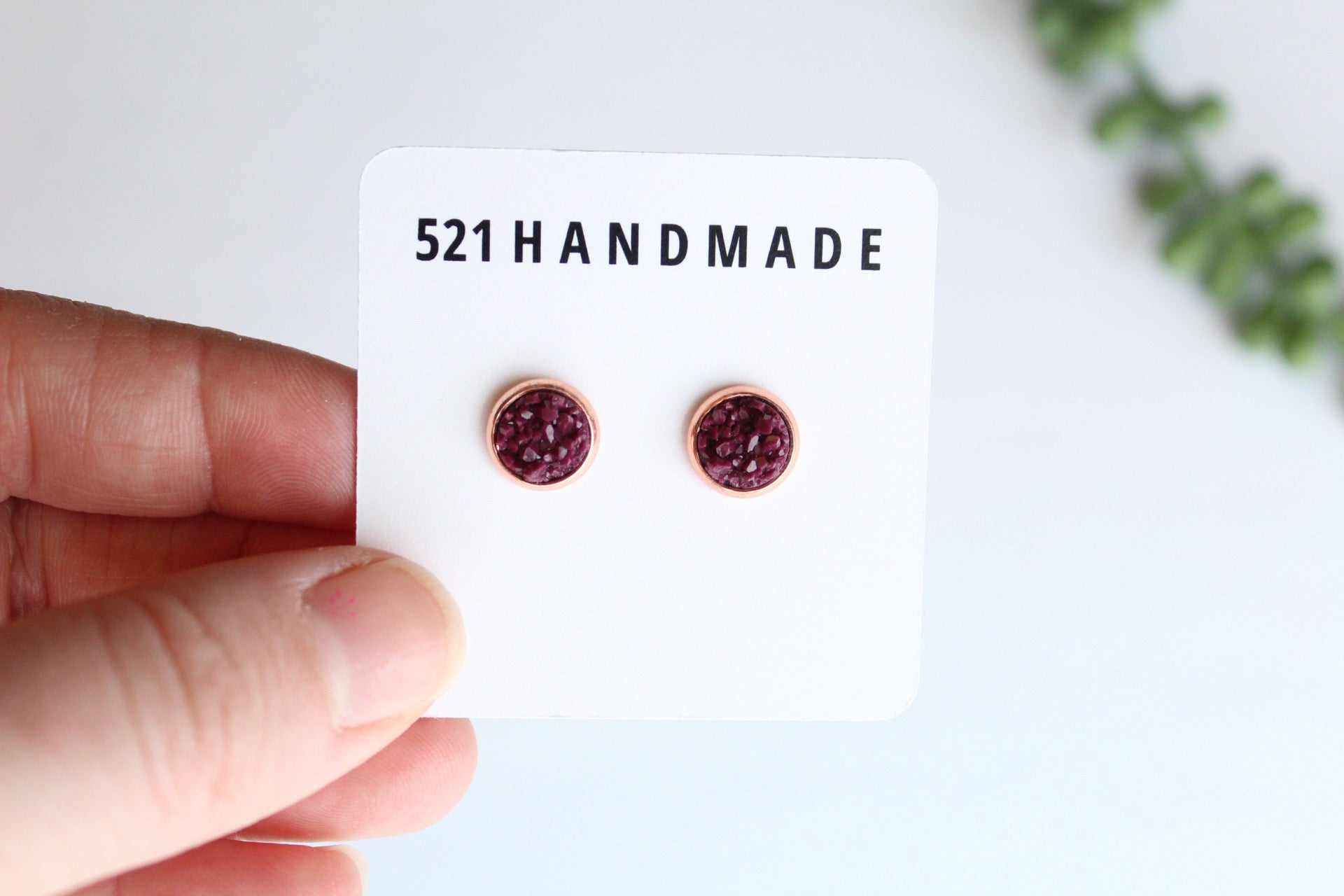 8mm Maroon Earrings (choose your settings)