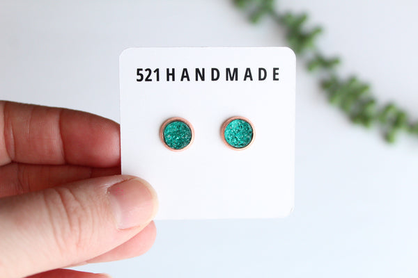 8mm Mermaid Green Studs (choose your setting)