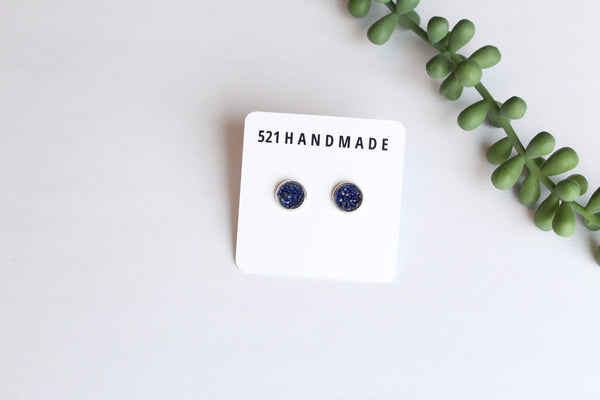 8mm Navy Blue Druzy Studs (choose your setting)