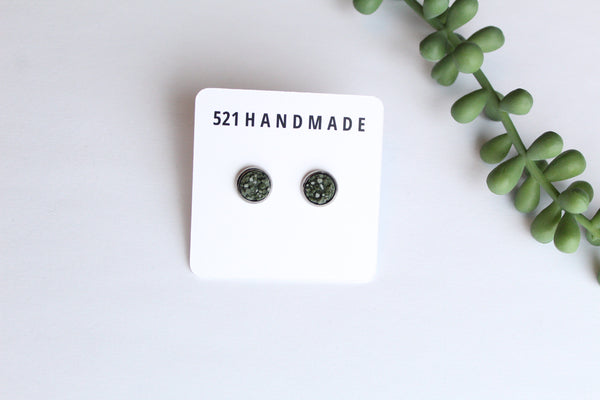 8mm Olive Green Druzy Earring (choose your setting)