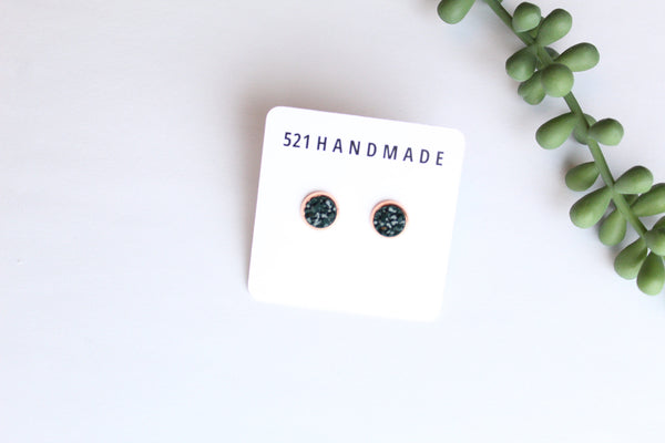 8mm Deep Quetzel Green Studs (choose your setting)
