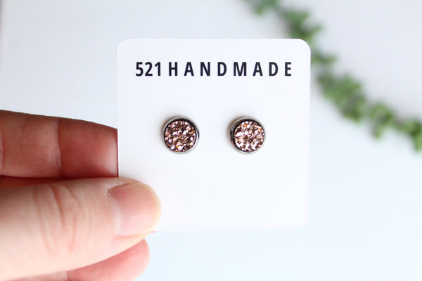 8mm Rose Gold Druzy Stud (choose your setting)