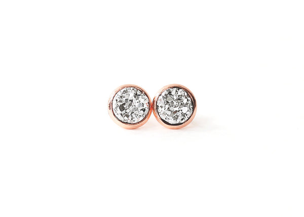 8mm Silver Druzy Stud (choose your setting)
