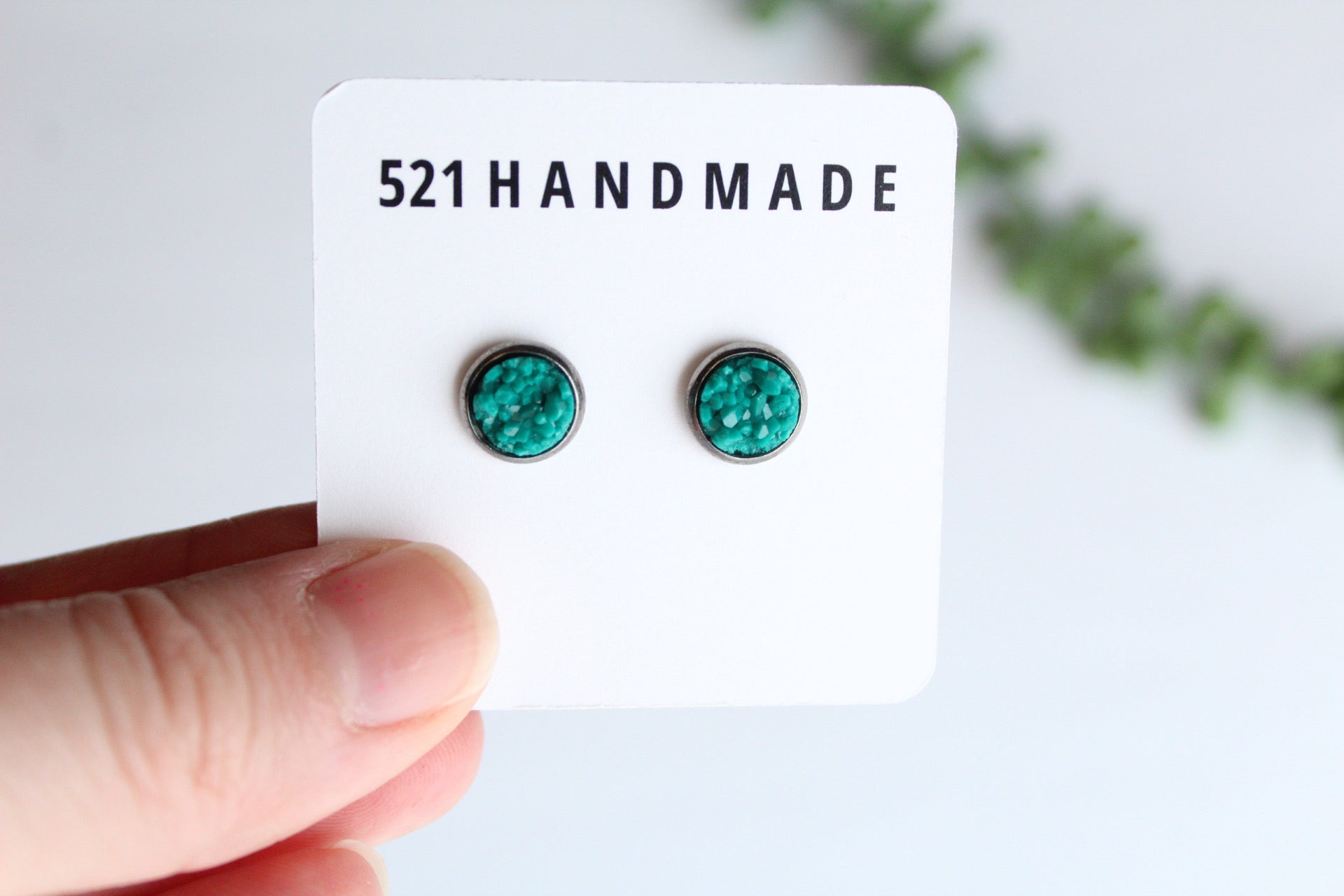8mm Turquoise Druzy Stud (choose your setting)