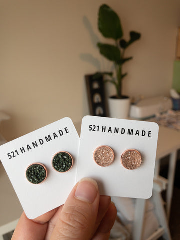 12mm NEW Olive Green or Blush Pink (rose gold setting)