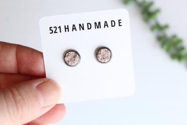 8mm Taupe Earrings (choose your settings)