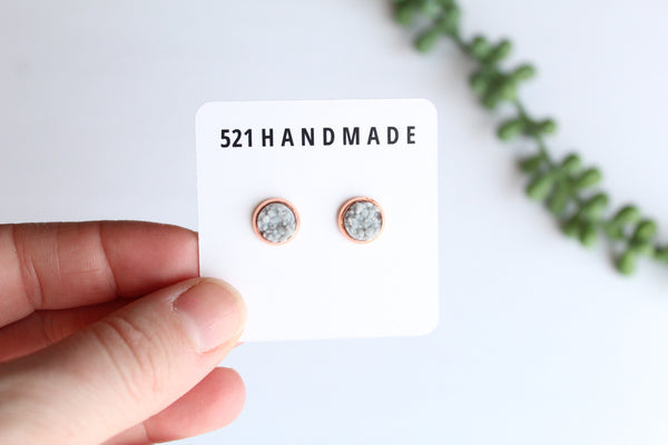 8mm Light Gray Druzy Stud (choose your setting)