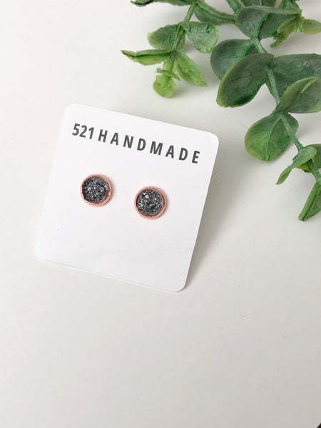 8mm Translucent Sparkly Gray Druzy Stud (rose gold setting)