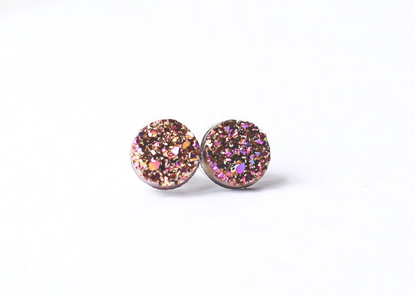 Pink and Gold Druzy Earring