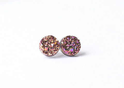 12mm Multicolor Druzy Stud (raw edge)