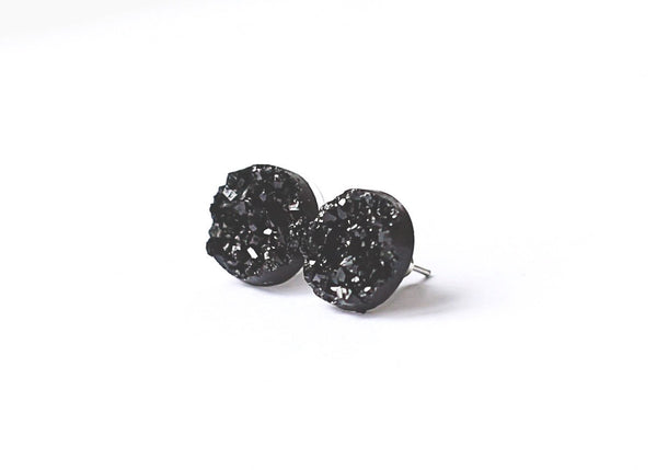 Black Druzy Earring