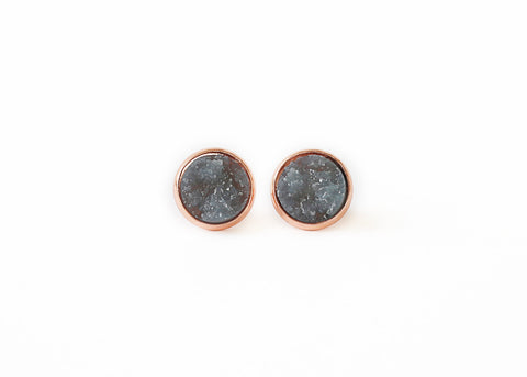 12mm Gray Druzy Stud (choose your setting)