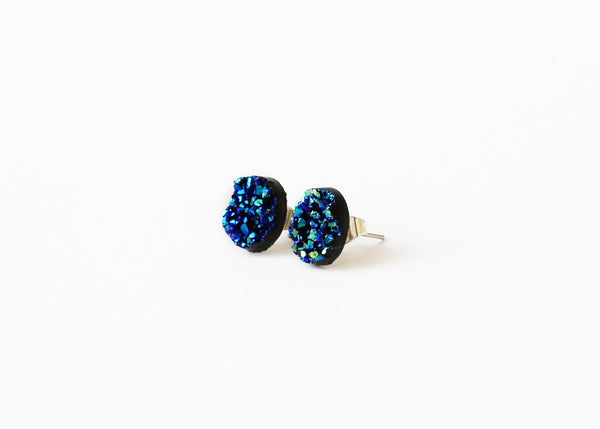 12mm Blue Druzy Stud (raw edge)
