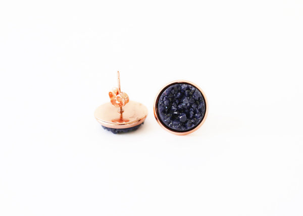 12mm Navy Blue Stud (rose gold setting)