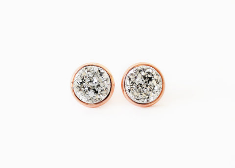 12mm Silver Druzy Stud (rose gold setting)