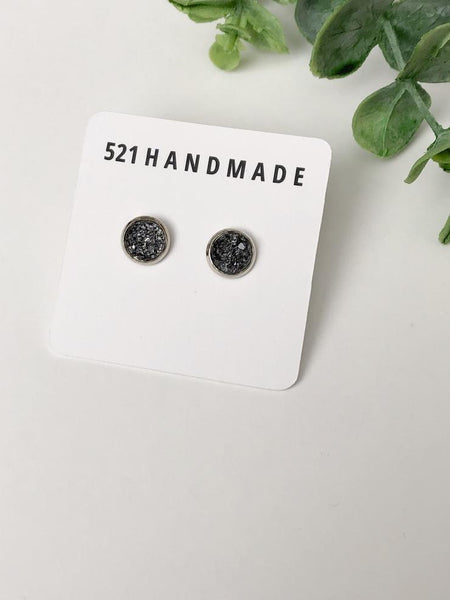 8mm Shimmer Gray Druzy Stud (choose your setting)