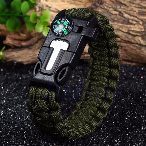 High Quality 5 in 1 Outdoor Survival Gear Escape Paracord Bracelet Flint / Compass / Whistle Brand New Camping & Hiking,Gear - iGadgetfied