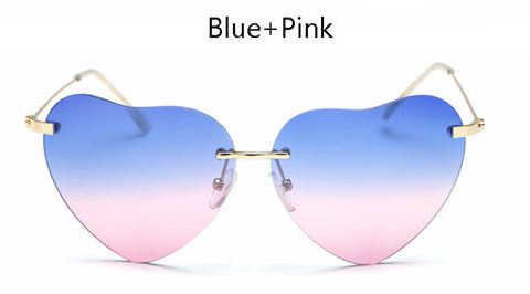 Women Rimless Heart Shape Sunglasses