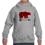 Buffalo Plaid Bear Wolf Deer Arrow Kids' Youth Hoodie Sweatshirt - Choose Animal - Sunshine and Spoons Shop