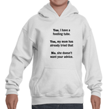 Yes, I Have a Feeding Tube. No, My Mom Doesn't Want Your Advice G Tube Kids' Youth Hoodie Sweatshirt - Sunshine and Spoons Shop