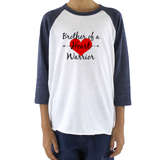 Brother of a Heart Warrior CHD Heart Defect Kids Raglan Baseball Shirt - Sunshine and Spoons Shop