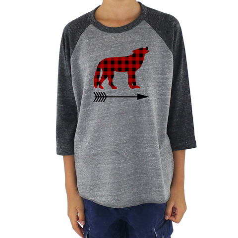 Buffalo Plaid Bear Wolf Deer Arrow Kids Raglan Baseball Shirt - Choose Animal - Sunshine and Spoons Shop