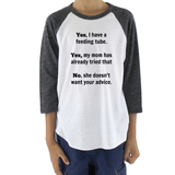 Yes, I Have a Feeding Tube. No, My Mom Doesn't Want Your Advice G Tube Kids Raglan Baseball Shirt - Sunshine and Spoons Shop