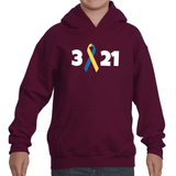 3 21 Down Syndrome Awareness Kids' Youth Hoodie Sweatshirt - Choose Color - Sunshine and Spoons Shop
