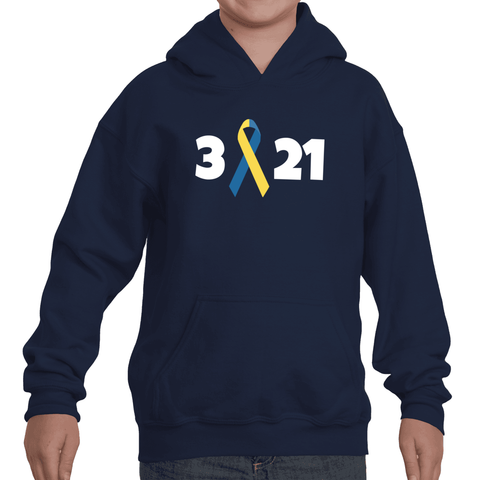 3 21 Down Syndrome Awareness Kids' Youth Hoodie Sweatshirt - Choose Color