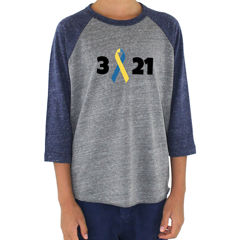 3 21 Down Syndrome Awareness Kids Raglan Baseball Shirt - Choose Color - Sunshine and Spoons Shop