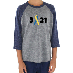 3 21 Down Syndrome Awareness Kids Raglan Baseball Shirt - Choose Color
