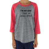 I'm Not Sick. I Have an Airway Defect Tracheomalacia Laryngomalacia Kids Raglan Baseball Shirt - Sunshine and Spoons Shop