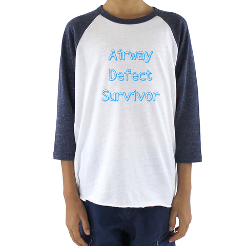 Airway Defect Survivor Tracheomalacia Laryngomalacia Kids Raglan Baseball Shirt