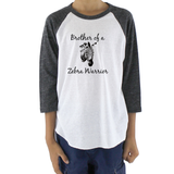 Brother of a Zebra Warrior Rare Disease Ehlers Danlos EDS Kids Raglan Baseball Shirt - Choose Color - Sunshine and Spoons Shop