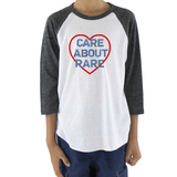 Care About Rare Disease Kids Raglan Baseball Shirt - Choose Color