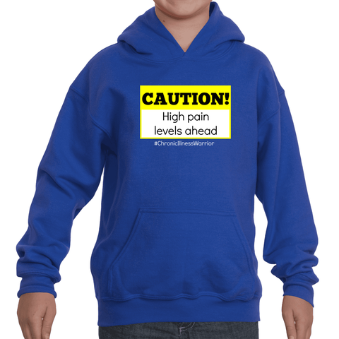 Caution! High Pain Levels Ahead Chronic Illness Kids' Youth Hoodie Sweatshirt - Choose Color - Sunshine and Spoons Shop