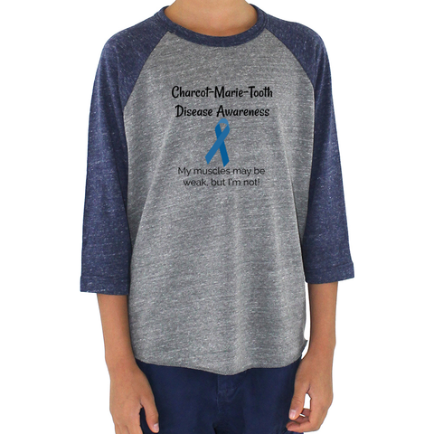 Charcot Marie Tooth Disease Awareness 3/4 Sleeve Unisex Raglan - Choose Color - Sunshine and Spoons Shop