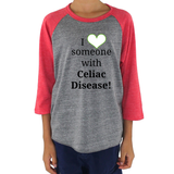 I Love Someone with Celiac Disease Kids Raglan Baseball Shirt - Choose Color - Sunshine and Spoons Shop