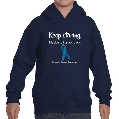Keep Staring. Maybe It'll Grow Back. Alopecia Awareness Kids' Youth Hoodie Sweatshirt - Choose Color