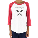 May the Spoons Be Ever in Your Favor Spoonie Kids Raglan Baseball Shirt - Choose Color