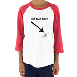 Put Food here G Tube Feeding Tube Kids Raglan Baseball Shirt - Choose Color