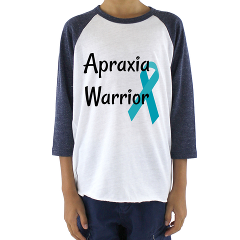 Apraxia Warrior Kids Raglan Baseball Shirt - Choose Color - Sunshine and Spoons Shop