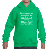 My Mom Doesn't Want Your Medical Advice Kids' Youth Hoodie Sweatshirt - Choose Color