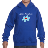 Autism Acceptance Awareness Puzzle Piece Kids' Youth Hoodie Sweatshirt - Choose Color - Sunshine and Spoons Shop