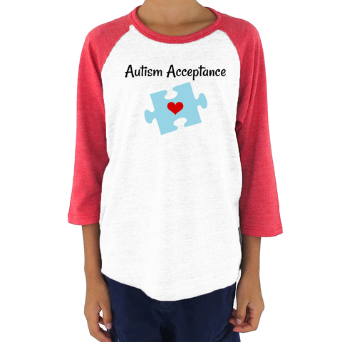 Autism Acceptance Awareness Puzzle Piece Kids Raglan Baseball Shirt - Choose Color - Sunshine and Spoons Shop