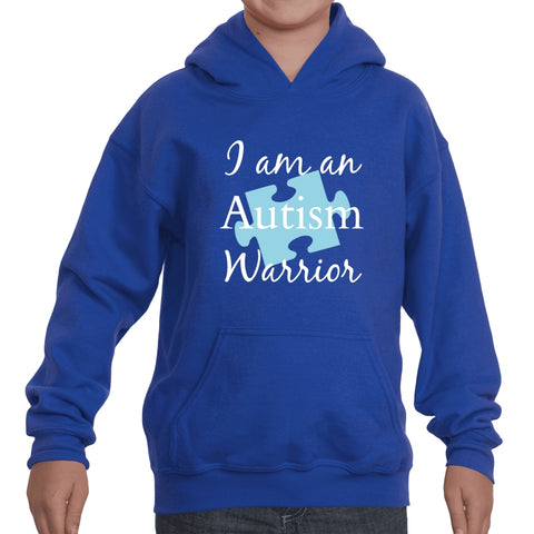 I am an Autism Warrior Awareness Puzzle Piece Kids' Youth Hoodie Sweatshirt - Choose Color - Sunshine and Spoons Shop
