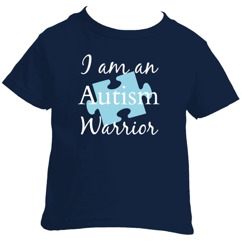 I am an Autism Warrior Awareness Puzzle Piece Kids' Shirt - Choose Color - Sunshine and Spoons Shop