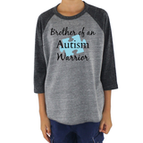 Brother of an Autism Warrior Awareness Puzzle Piece Kids Raglan Baseball Shirt - Choose Color - Sunshine and Spoons Shop