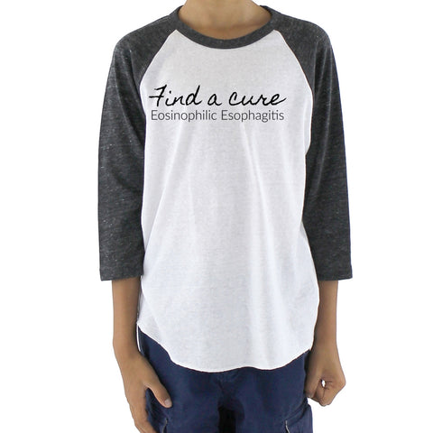 Find a Cure Eosinophilic Esophagitis EoE EE Kids Raglan Baseball Shirt - Choose Color - Sunshine and Spoons Shop