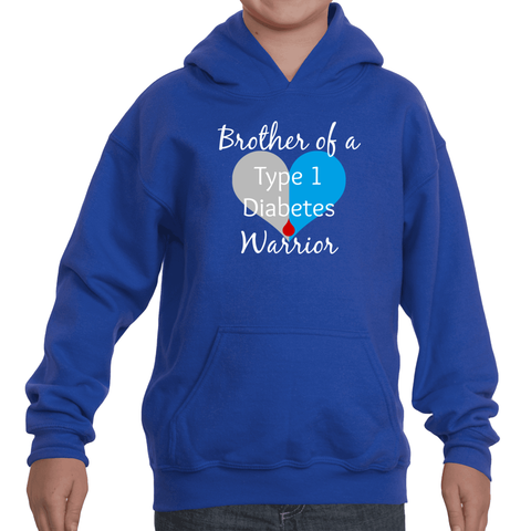 Brother of a Type 1 Diabetes Warrior T1D Kids' Youth Hoodie Sweatshirt - Choose Shirt - Sunshine and Spoons Shop